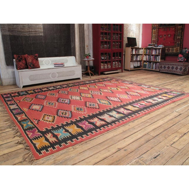 A large old Kilim from the Balkan peninsula, from the border region between Serbia and Bulgaria. Older and more colorful...