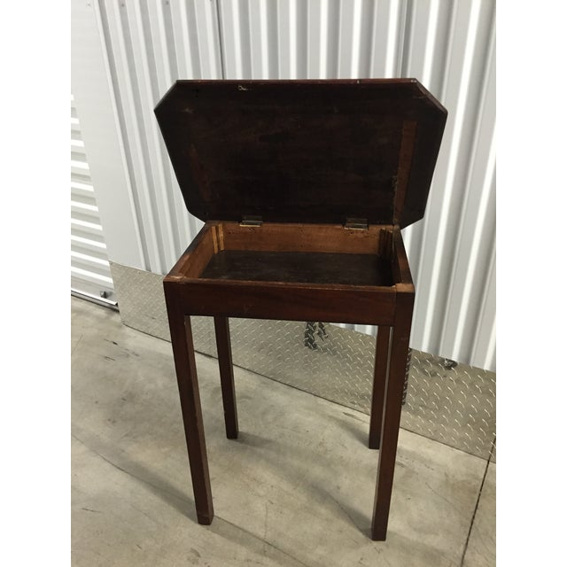 Antique Lift-Top Side Table For Sale - Image 4 of 8