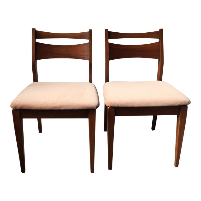 Mid-Century Velvet & Walnut Dining Chairs - Set of 4 - Image 1 of 10