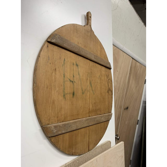Wood Early 20th C Antique French Pine Boulangerie Round Breadboard For Sale - Image 7 of 13