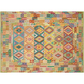 "Nalbandian - Contemporary Afghan Maimana Kilim - 8'4"" X 11'5"" For Sale"