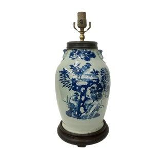 Vintage Celedon Blue & White Roosters Design Table Lamp