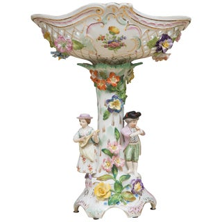 19th Century Dresden Porcelain Compote For Sale
