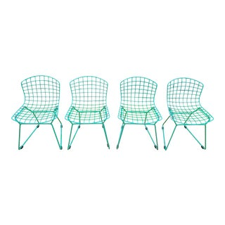 Children's Bertoia Style Lime Green Chairs - Set of 4 For Sale