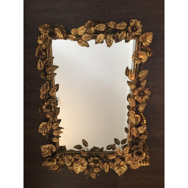 1950s Italian Gilt Flower and Leaf Mirror For Sale - Image 11 of 11