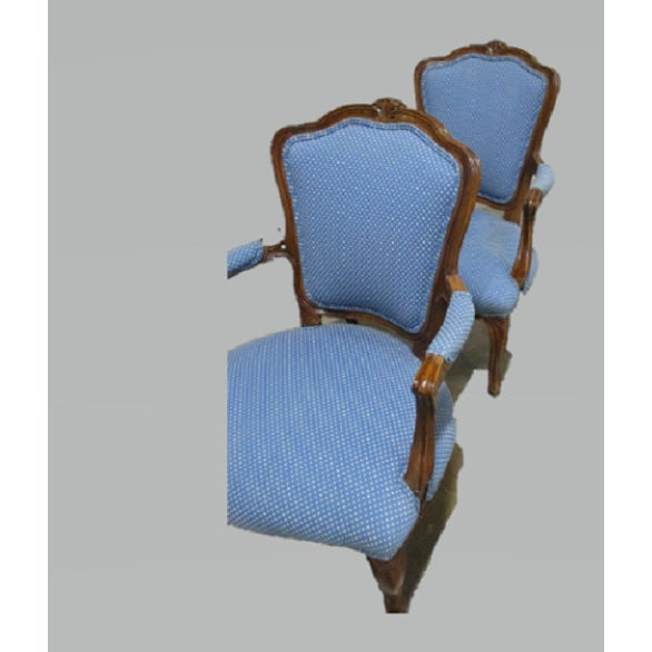 French Country A Pair Bergere Chairs - Blue Antique French Country Accent Chair For Sale - Image 3 of 7