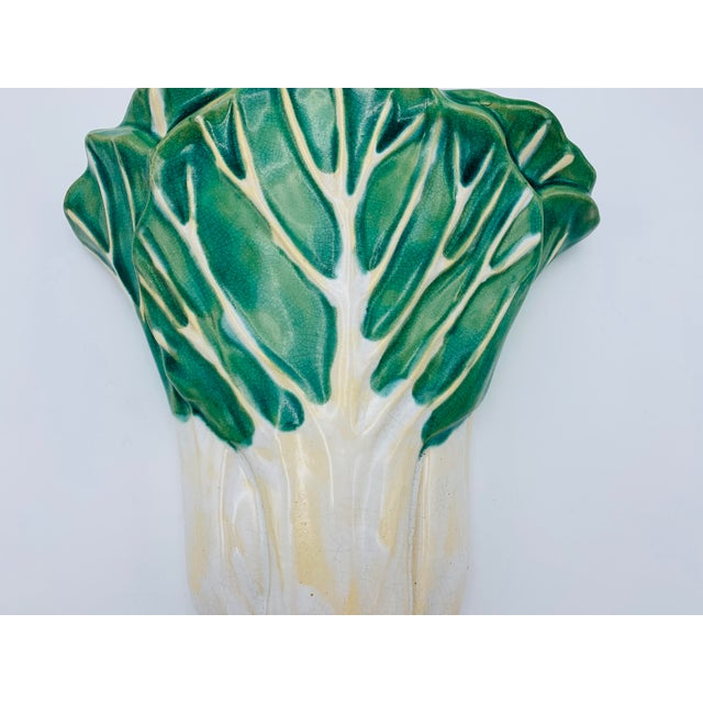 Asian 1960s Vintage Green and White Ceramic Bok-Choy Wall Pocket For Sale - Image 3 of 11