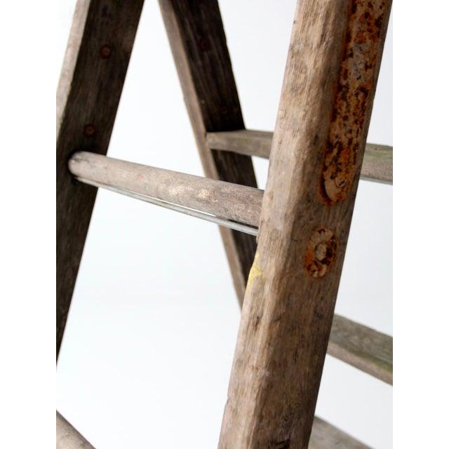 Vintage Wooden Folding Ladder For Sale - Image 10 of 11