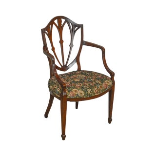 Hepplewhite Style Custom Quality Solid Mahogany Arm Chair For Sale