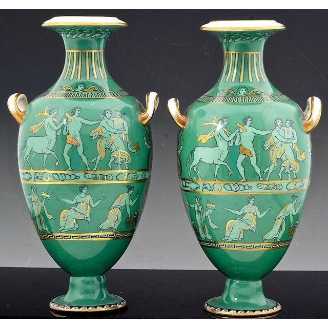 Green English Porcelain Neoclassical Jade Green-Ground Vases - a Pair For Sale - Image 8 of 8