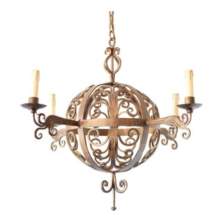 Iron Curl Orb Chandelier For Sale