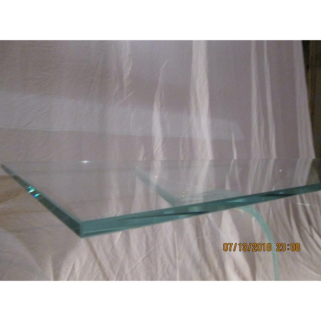 Late 20th Century Vintage Fiam Style All Glass Ghost Console Table For Sale - Image 9 of 10