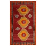 Image of Vintage Mid-Century Red-Orange Wool Tribal Kilim Rug- 5′8″ × 9′5″ For Sale