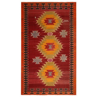Vintage Mid-Century Red-Orange Wool Tribal Kilim Rug- 5′8″ × 9′5″ For Sale