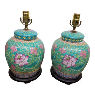 1980s Hand Painted Chinese Aqua and Pink Floral Ginger Jar Lamps - a Pair For Sale