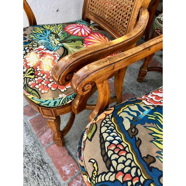 1970s 1970s Vintage Cane Back Dining Chairs- Set of 8 With Schumacher Fabric, Chiang-Mai Pattern For Sale - Image 5 of 12