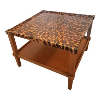 Hollywood Regency Hand Painted Tortoise Shell Coffee Table For Sale