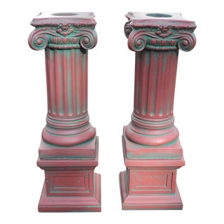 Antique Painted Solid Concrete Corinthian Pedestal Columns - A Pair