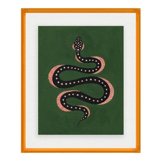 Apple the Snake by Willa Heart in Amber Orange Acrylic Shadowbox, Small Art Print For Sale