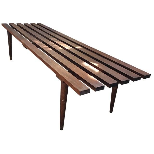 Mid-Century Danish Modern Slat Bench Table - Image 1 of 5