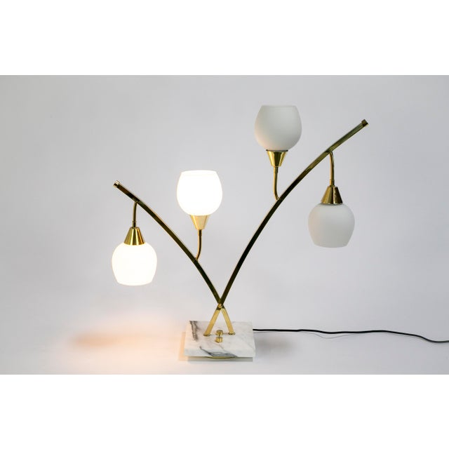 Metal Expansive Narrow Brass & Marble Mid-Century 4-Light Table Lamps W/ Glass Shades For Sale - Image 7 of 10