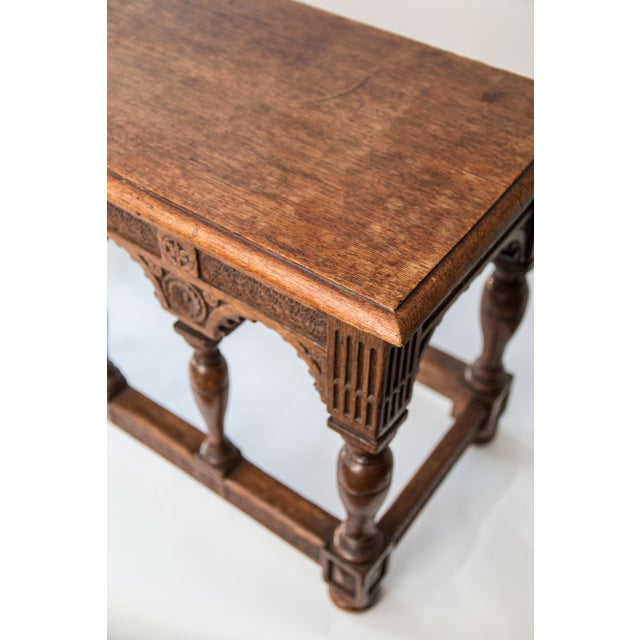 Oak 19th-Century Antique French Carved Oak Bench For Sale - Image 7 of 10