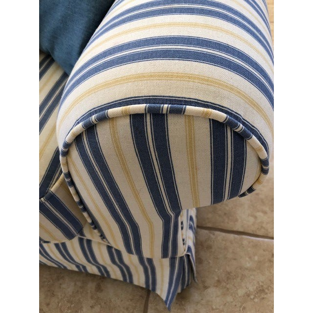 Blue and Yellow Striped Beach and Boho Two Seater Sofa