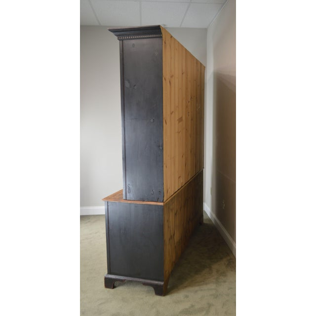 Monumental Custom Crafted Reproduction Country Painted Pine Step Back Hutch For Sale - Image 4 of 13