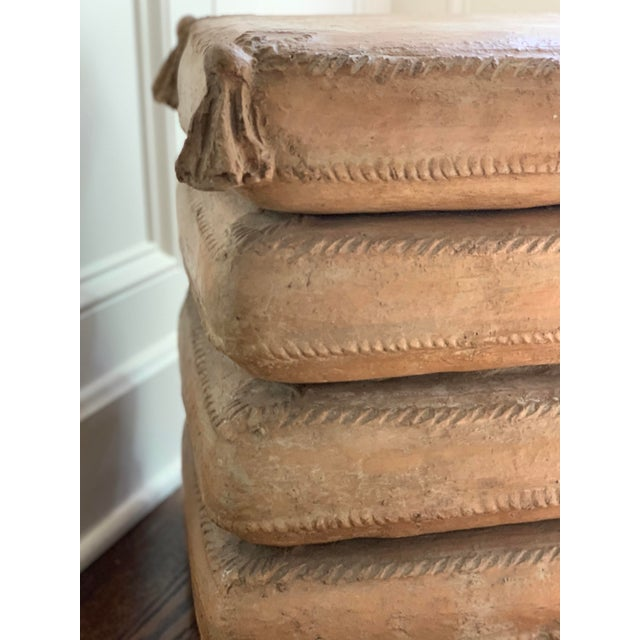 Exceptional vintage Italian terracotta garden stool/side table in the form of a stack of cushions. Very heavy, and well...