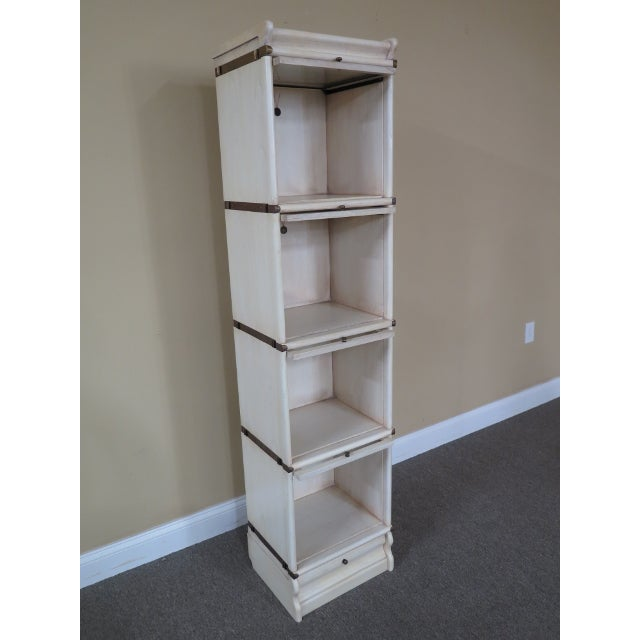 Transitional Globe Wernicke 4 Section White Stacking Narrow Bookcase For Sale - Image 9 of 13