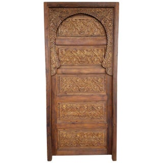 Modern Single Panel Moroccan Carved Wooden Door For Sale