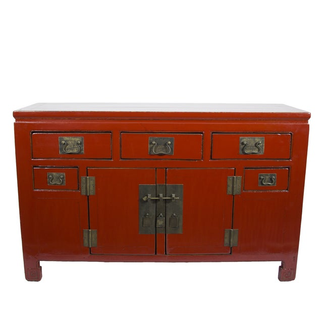 Red Chinese Sideboard Cabinet - Image 1 of 3