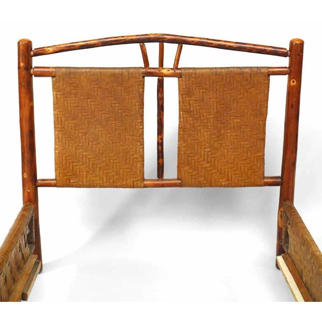 Rustic Rustic Old Hickory Bed With Natural Woven Design For Sale - Image 3 of 4