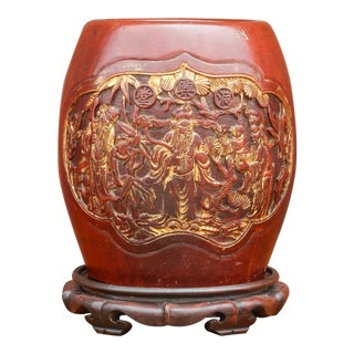 Shou Lao Carved Barrel Container on a Stand For Sale