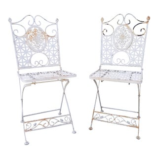Vintage Victorian Style White Metal Folding Chairs - A Pair