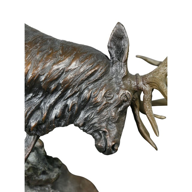 """Bronze Western Bronze of Elk """"Forces of Nature"""" by Ken Rowe For Sale - Image 7 of 13"""