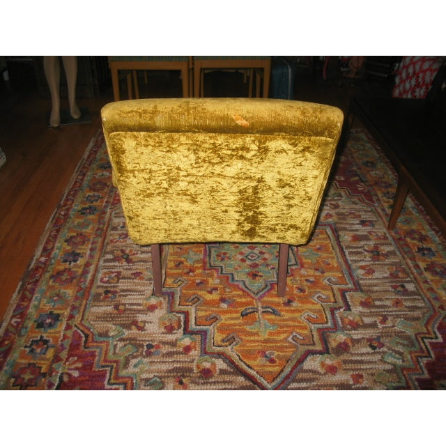 MCM 60s Chartruese Velour Chair - Image 4 of 8