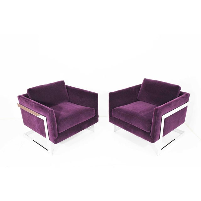 Milo Baughman T-Back Cube Chairs in Maharam Mohair - a Pair For Sale - Image 13 of 13