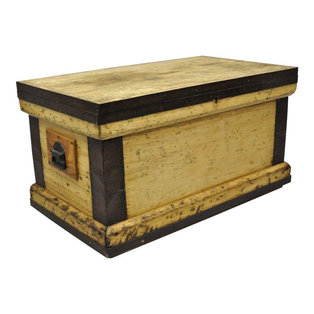 Antique Wood & Cast Iron Primitive Industrial Trunk Blanket Chest or Coffee Table For Sale