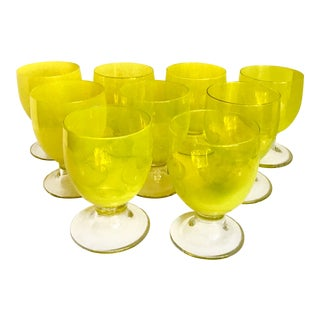 1970s Contemporary Citron Handblown Stemmed Glasses - Set of 9