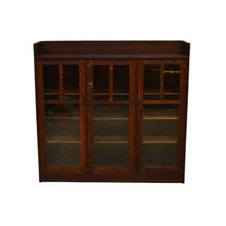 20th Century Mission Charles Limbert Quartersawn Oak Three Door Bookcase Preview