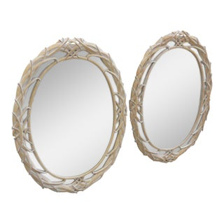 1990s Traditional White Plaster Oval Leaf Mirrors - a Pair
