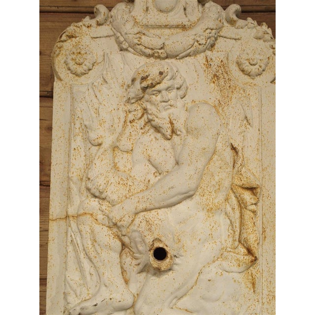 Antique Cast Iron Neptune Wall Fountain from France For Sale - Image 4 of 10