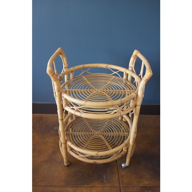 Boho Chic Vintage Round Bamboo & Glass Bar Cart For Sale - Image 3 of 8