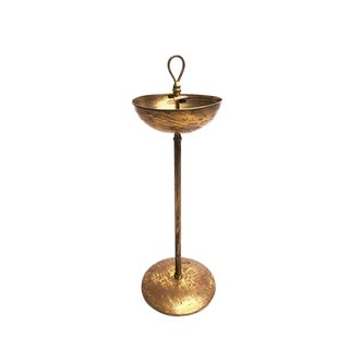 Vintage Telescoping Brushed Brass Adjustable Ash Tray / Smoking Stand