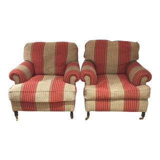 2000s Contemporary George Smith Brick Red Striped Short Scroll Arm Chairs - a Pair