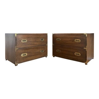 1970s Traditional Hickory Furniture Campaign Style Chests of Drawers - a Pair For Sale