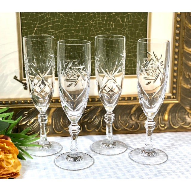 Mid 20th Century Mid 20th Century Cristal De Paris Lead Crystal Hand Cut Champagne Glasses - Set of 4 For Sale - Image 5 of 8