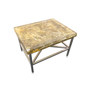 "Organic Modern ""Shattered Glass"" Cracked Resin Coffee Table For Sale"
