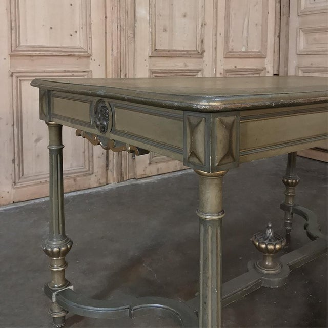 Brown 19th Century French Louis XVI Painted End ~ Library Table For Sale - Image 8 of 12